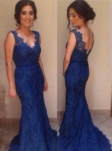 Mermaid Backless Royal Blue Sleeveless Court Train Lace Evening Dress