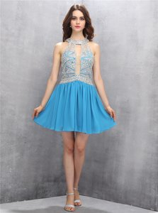 Blue Ball Gowns Scoop Sleeveless Organza Mini Length Zipper Beading and Appliques Prom Gown