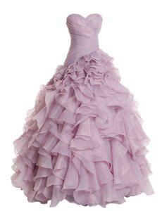 Customized Floor Length Zipper Prom Gown Lilac and In for Prom and Party with Ruffles