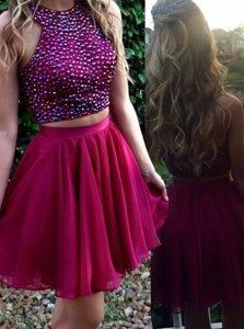 Scoop Fuchsia Sleeveless Beading Mini Length Dress for Prom