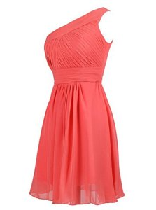 Chiffon One Shoulder Sleeveless Zipper Ruffles Prom Party Dress in Watermelon Red