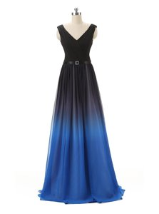 Exquisite Blue And Black Sleeveless Belt Floor Length Prom Party Dress