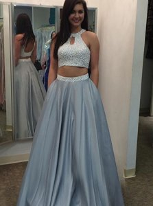 Fashionable Halter Top Beading Prom Gown Silver Backless Sleeveless Floor Length