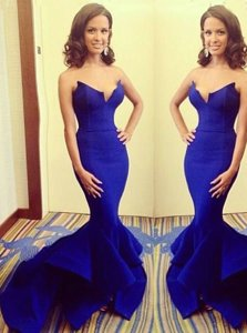Hot Selling Mermaid Royal Blue Strapless Neckline Ruching Evening Dress Sleeveless Zipper