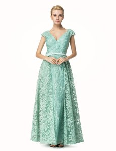 Fitting Lace Turquoise V-neck Zipper Pleated Homecoming Dress Cap Sleeves