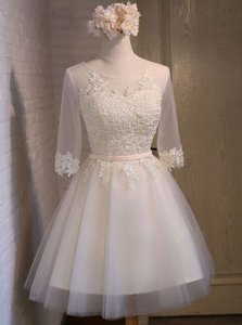Scoop Mini Length White Dress for Prom Organza Half Sleeves Appliques