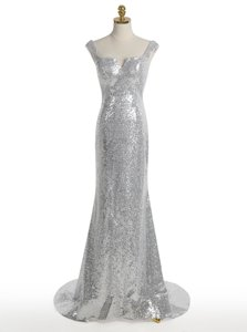Edgy Mermaid Square Sequins Evening Dress Silver Zipper Sleeveless With Train Sweep Train