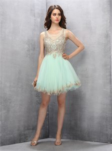 Apple Green Tulle Zipper Scoop Sleeveless Knee Length Homecoming Dress Appliques