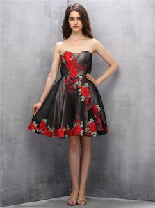 Spectacular Brown and Pink And Black Zipper Homecoming Dress Appliques Sleeveless Mini Length