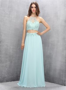Fashion A-line Evening Dress Light Blue Halter Top Chiffon Sleeveless Floor Length Zipper