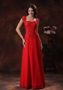 Cap Sleeves Red Square Empire Prom Dress With Lace and Chiffon