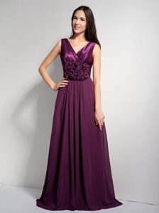Ruching A-line V-neck Dark Purple Dresses For JS Prom with Brush Train
