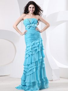 Aqua Ruffled Layers Bowknot For Prom Dress with Ruche and Beading