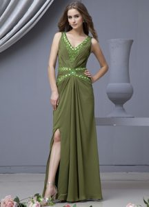Olive Green Beading V-neck High Slit Chiffon Floor-length Prom Dress
