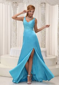High Slit Aqua Blue Prom Evening Dress For 2013 with Beading Straps