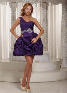Eggplant Purple One Shoulder Prom Dress with Beading and Pick-ups