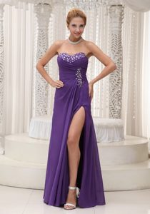 Column High Slit Beading Sweetheart Chiffon For Purple Prom Evening