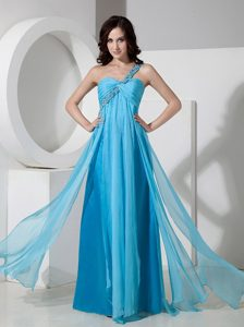 Beading One Shoulder Chiffon Prom Bridesmaid Dress in Baby Blue