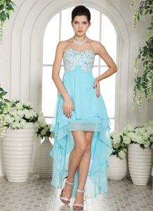 High-low Aqua Blue Sweetheart Dresses For Prom Princess with Appliques
