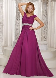 Off The Shoulder Fuchsia Ruche and Beading Dresses For Prom Princess