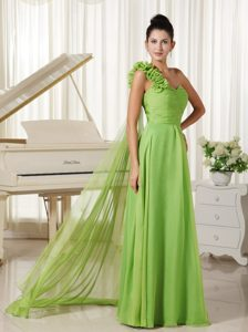 Spring Green One Shoulder Hand Flowers Prom Dress with Watteau Train