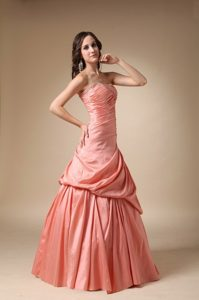 Beading and Pick-ups A-line Strapless Taffeta Prom Dress in Orange