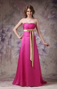 Column Strapless Brush Train Hot Pink Prom Dress with Ruche and Bows