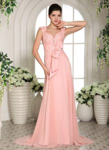 Stylish Hand Flowers Baby Pink Straps Prom Gowns With Brush Train