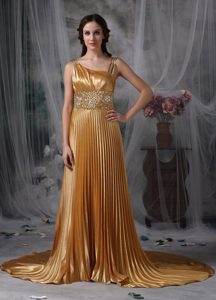 Asymmetrical Gold Empire Prom Dress Beading with Brush Train