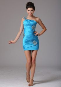 Stylish Baby Blue One Shoulder Prom Cocktail Dress in Short