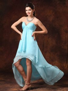 Aqua Blue Beading for High-low Empire 2014 Prom Dresses