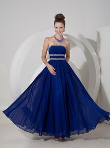 Royal Blue Empire Prom Dress Beading and Pleats Decorate