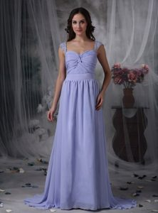 Pretty Lilac Empire Prom Dress with Beading and Ruche