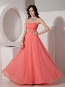 Elegant Watermelon Red Chiffon Prom Dress with Beading