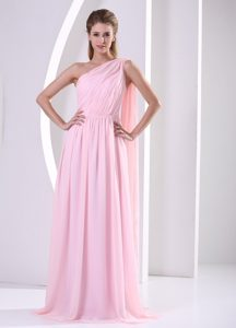 Discount One Shoulder Watteau Ruched Prom Dress in Baby Pink