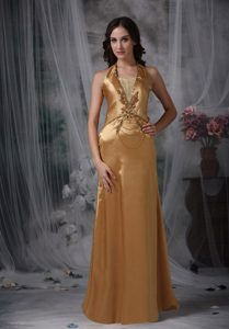 Gorgeous Beading Gold Prom Gown Halter Top Neckline