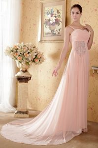 Baby Pink Straps Prom Graduation Dress with Beading and Pleats