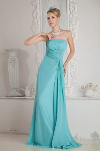 Turquoise Strapless Beading Pleated Prom Dress with Brush Train