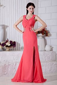 Straps Watermelon Ruching Side Slit Prom Bridesmaid Dress
