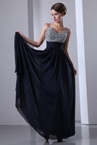 Dark Navy Blue Beading for Prom Dress with Straps