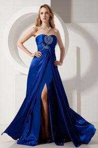 Column Beading and Brush for Prom Dress in Royal Blue