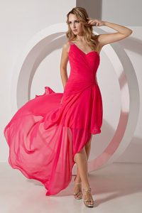 Hot Pink One Shoulder High-low Prom Dress Beading Decorate