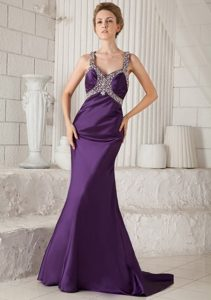 Eggplant Purple Mermaid Brush Beaded Prom Dress with Straps