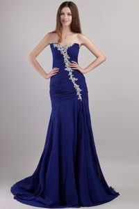 Blue Sheath Sweetheart Chapel Appliques for Prom Dress