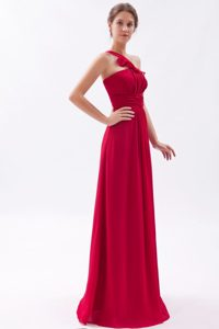Empire One Shoulder Pleats for Prom Dress in Wine Red