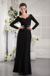 Black Sweetheart Long Sleeves Floor-length Lady Of The Evening Dresses