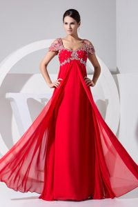 Beaded Empire Straps Cap Sleeves Prom Gowns in Red