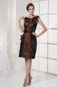 Brown Scoop Prom Dresses with Black Sash for Knee-length