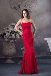 2014 Beading and Lace Accent Red Prom Dress for Formal