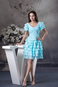 Ruffled Aqua Blue Prom Cocktail Dress with Short Sleeves